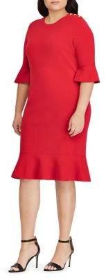 Lauren Ralph Lauren Plus Ruffle-Sleeve Shift Dress