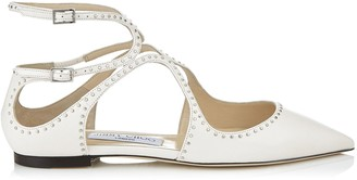 Jimmy Choo LANCER FLAT Chalk Nappa Leather Pointy Toe Flats with Silver Micro Studs