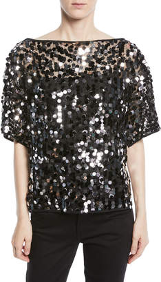 Milly Sequin-Embellished Dolman Top