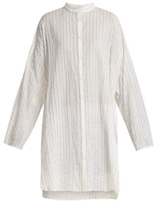 Raey Split Side Striped Sheer Cotton Shirtdress - Womens - Navy Stripe