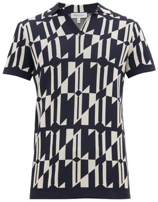 Odyssee - Geometric Patterned Polo Top - Mens - Navy Multi