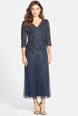 Pisarro Nights Beaded Mesh Dress (Regular & Petite)
