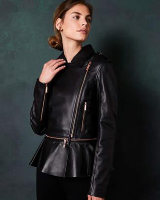 Ted Baker AHFIRAA Zip peplum leather jacket