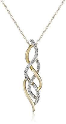 10K Gold Diamond Twist Pendant Necklace (1/4 cttw)