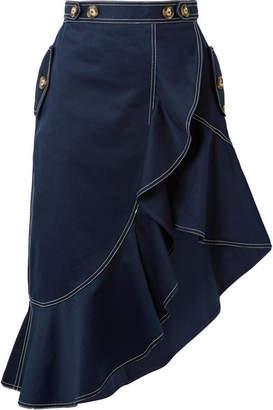 Self-Portrait SelfPortrait - Asymmetric Ruffled Cotton-twill Skirt