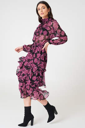 Na Kd Boho High Neck Frill Midi Dress Burgundy Roses