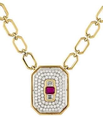 18K Ruby & Diamond Pendant Necklace