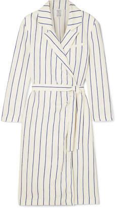 Rosie Assoulin Striped Linen Wrap Dress - White