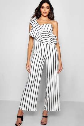 boohoo One Shoulder Ruffle Wide Leg Jumpsuit