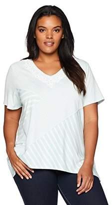 Alfred Dunner Women's Plus Size Spliced Stripe Tunic Tee Shirt