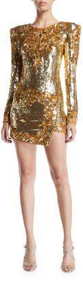 Dundas Long-Sleeve Embroidered Sequin Mini Dress