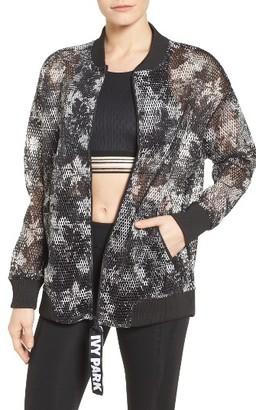 Women's Ivy Park Floral Mesh Bomber Jacket $90 thestylecure.com