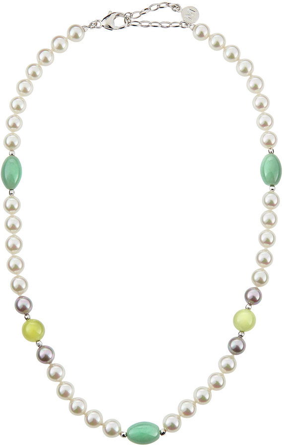 Majorica Pearl and Mixed-Stone Necklace, White/Nuage