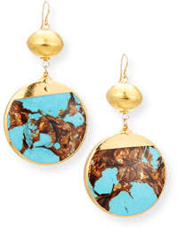 Devon Leigh Bronzite Turquoise Round Drop Earrings