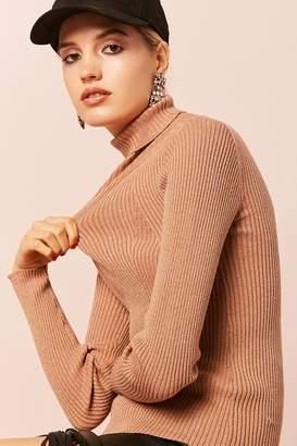 Forever 21 Metallic Knit Turtleneck Sweater