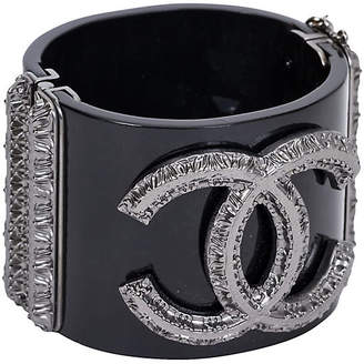 One Kings Lane Vintage Chanel Black & Gunmetal Hinged Cuff - Vintage Lux