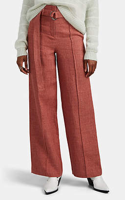 Robert Rodriguez Women's Chelsea Linen-Blend High-Rise Wide-Leg Trousers - Pink