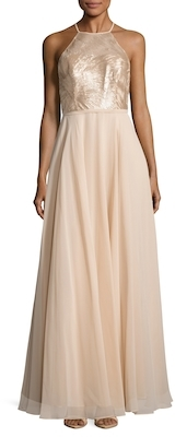Carmen Marc ValvoEmbellished Flared Gown