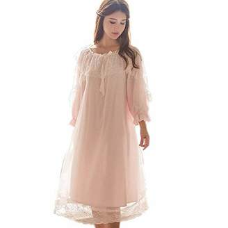 SINGINGQUEEN Women s Victorian Nightgown Vintage Sleepwear Lace Robe  Chemise Lounge Dress Pajamas 5fea27204