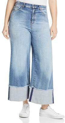 Marina Rinaldi Idillico High-Rise Cropped Wide-Leg Jeans in Ski Blue