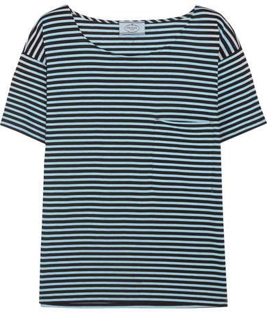 Prada - Striped Cotton-jersey T-shirt - Light blue