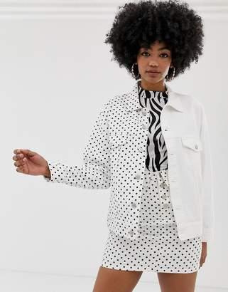Signature 8 oversized polka dot denim jacket