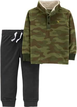 Carter's Baby Boy Sherpa Mock Neck Camo Pullover Fleece & Jogger Pants Set