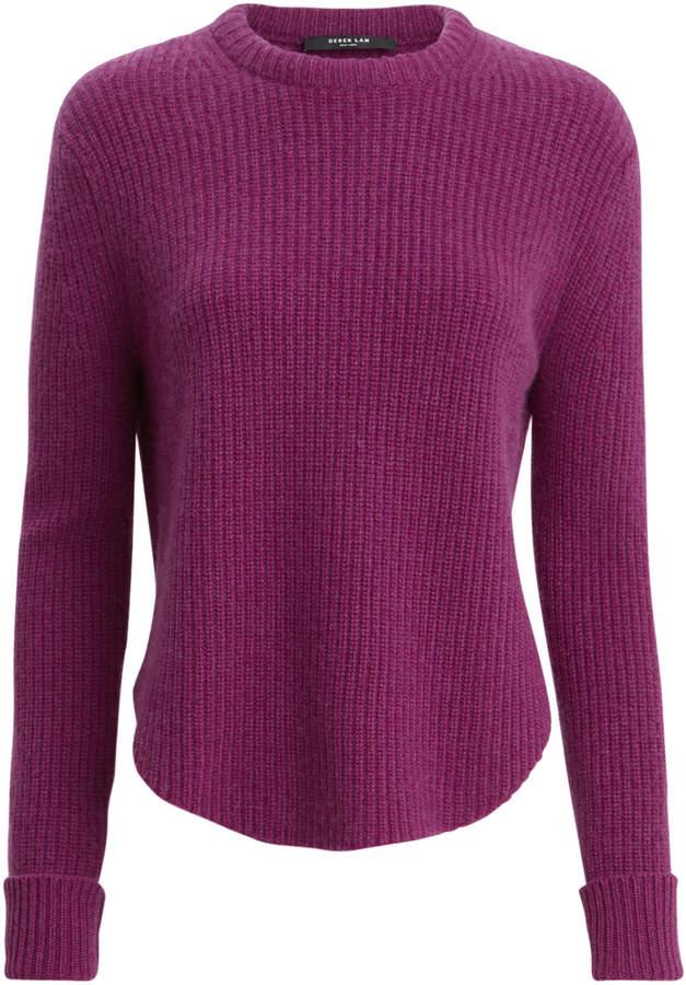 Shirttail Hem Ribbed Sweater