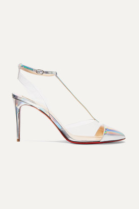 Christian Louboutin Nosy 85 Patent-leather And Pvc Pumps - Metallic