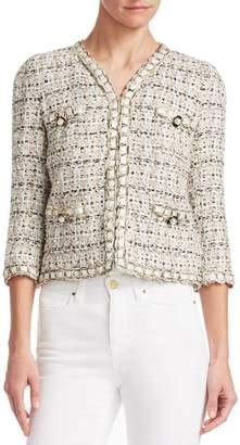 Edward Achour Braid Trim Embellished Cropped Jacket