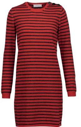 Carven Glittered Striped Wool-Blend Mini Dress