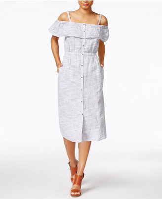 Lucky Brand Linen Printed Off-The-Shoulder Dress $129 thestylecure.com