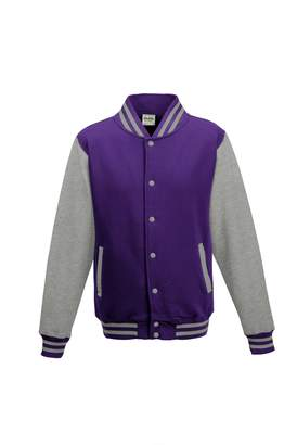 AWDis Hoods Varsity jacket Purple/ Heather Grey S