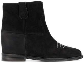 Via Roma 15 stitch detail ankle boots