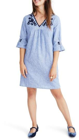 Madewell Breeze Embroidered Shift Dress