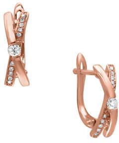 Effy 14K Rose Gold Earrings with 0.17 TCW Diamonds