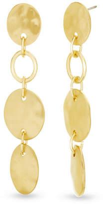 Catherine Malandrino Women Hammered Disc Link Yellow Gold-Tone Drop Earrings