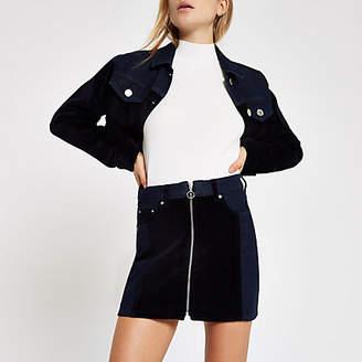 River Island Dark blue velvet panel zip denim mini skirt