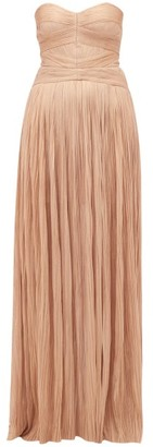 Maria Lucia Hohan Saida Lace Up Silk Strapless Gown - Womens - Light Pink