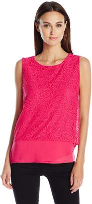 Calvin Klein Women's 3 Layer Top with Lace