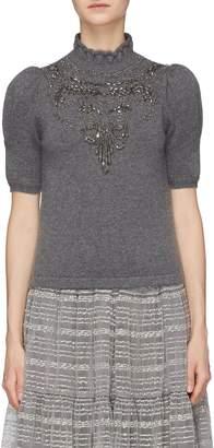 Co Bead bib wool-cashmere high neck sweater