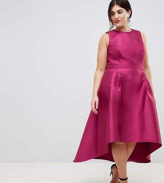 Chi Chi London Plus Sateen High Low Hem Dress