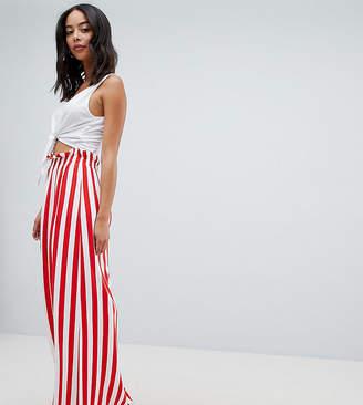 ASOS Tall ASOS DESIGN Tall maxi skirt with paperbag waist in stripe