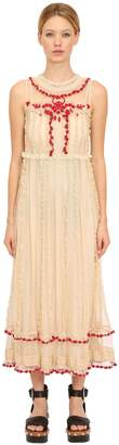 RED Valentino Embroidered Ruffled Lace Long Dress