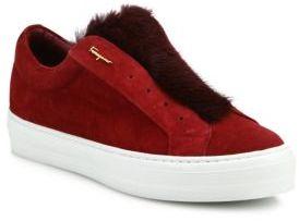 Salvatore Ferragamo Foxy Suede & Mink Fur Sneakers $525 thestylecure.com