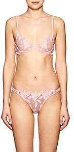 Fleur Du Mal Women's Floral-Appliquéd Demi Bra - Pink