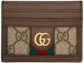 Gucci Brown Ophidia GG Card Holder