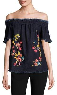 Tanya Taylor Carmen Embroidered Denim Cotton Top