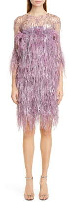 Pamella Roland Lilac Crystal & Sequin Embroidered Cocktail Dress