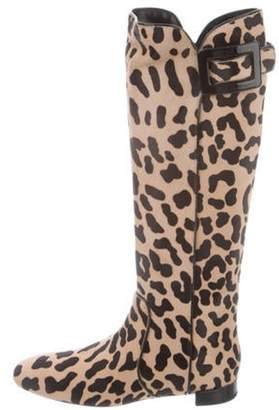 Roger Vivier Polly Leopard Print Knee-High Boots Tan Polly Leopard Print Knee-High Boots